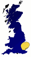 map of UK highlighting East Anglia